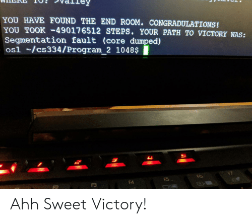 fault: YOU HAVE FOUND THE END ROOM. CONGRADULATIONS!  YOU TOOK-49017 6512 STEPS. YOUR PATH TO VICTORY WAS:  Segmentation fault (core dumped)  os1 /cs334/Program_2 1048$  म  F4  F3 Ahh Sweet Victory!