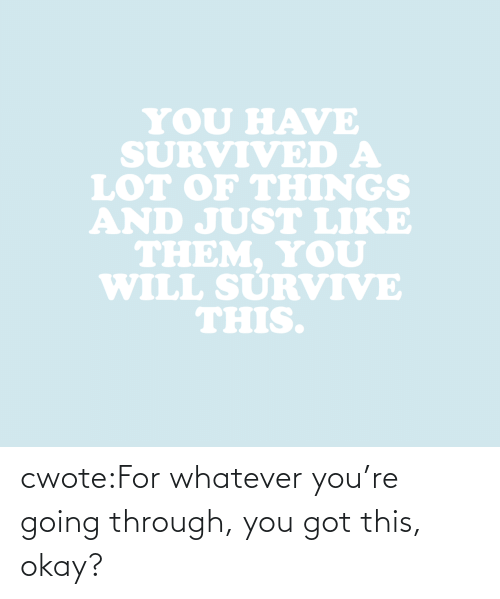 You Will: YOU HAVE  SURVIVED A  LOT oF THINGS  AND JUST LIKE  THEM. YoU  WILL SURVIVE  THIS. cwote:For whatever you're going through, you got this, okay?