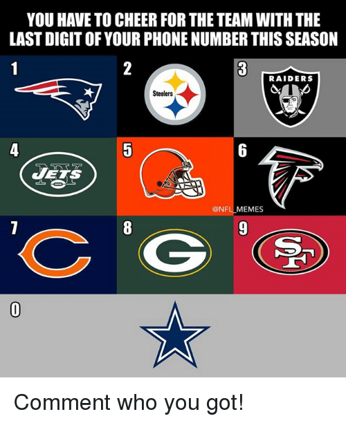 digitalism: YOU HAVE TO CHEER FOR THE TEAM WITH THE  LAST DIGIT OF YOUR PHONE NUMBER THIS SEASON  RAIDERS  Steelers  VETS  @NFL MEMES Comment who you got!