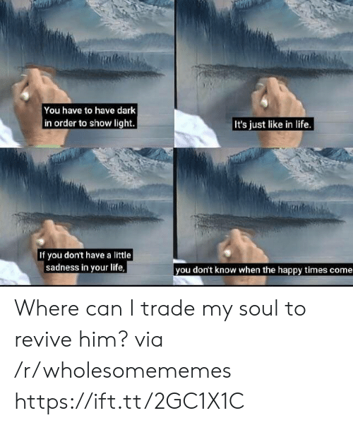 Revive: You have to have dark  in order to show light  It's just like in life.  If you don't have a little  sadness in your life  you don't know when the happy times come Where can I trade my soul to revive him? via /r/wholesomememes https://ift.tt/2GC1X1C