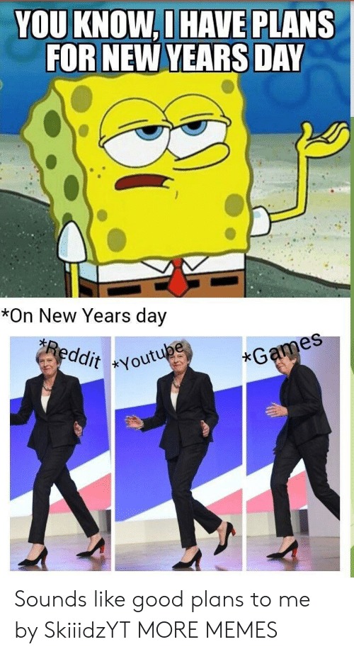 new years day: YOU KNOW,D HAVE PLANS  FOR NEW YEARS DAY  es  *On New Years day  es  ddit Youtu  xG Sounds like good plans to me by SkiiidzYT MORE MEMES