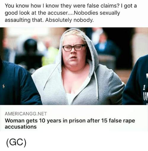 Memes, Prison, and Good: You know how I know they were false claims? I got a  good look at the accuser....Nobodies sexually  assaulting that. Absolutely nobody.  AMERICANGG.NET  Woman gets 10 years in prison after 15 false rape  accusations (GC)