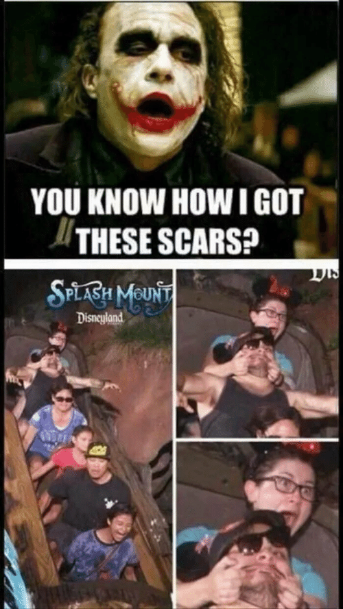 Mount: YOU KNOW HOWI GOT  THESE SCARS?  SPLABH MOUNT  Disneyland