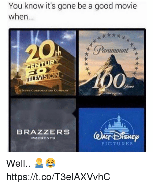 News, Brazzers, and Good: You know it's gone be a good movie  when...  ('Paramount  A NEWS CORPORATION COMPANY  BRAZZERS  PRESENTS  PICTURES Well.. 🤷‍♂️😂 https://t.co/T3elAXVvhC