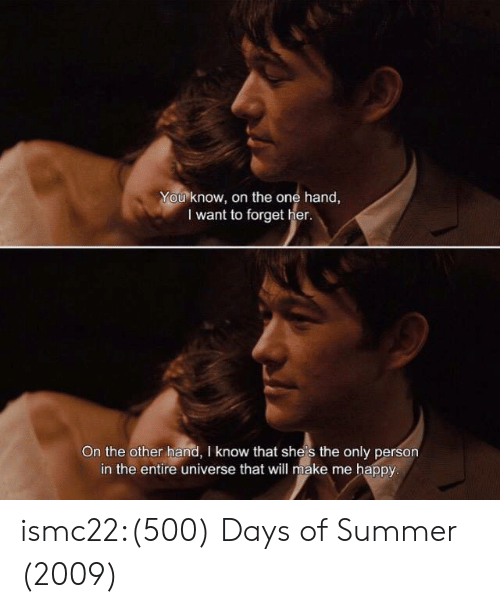 on the other hand: You know, on the one hand,  I want to forget her.  On the other hand, I know that she's the only person  in the entire universe that will make me happy ismc22:(500) Days of Summer (2009)