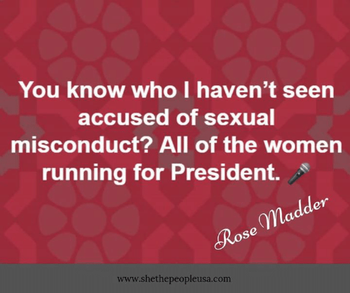 For President: You know who I haven't seen  accused of sexual  misconduct? All of the women  running for President.  en  gpla  Rose  www.shethepeopleusa.com