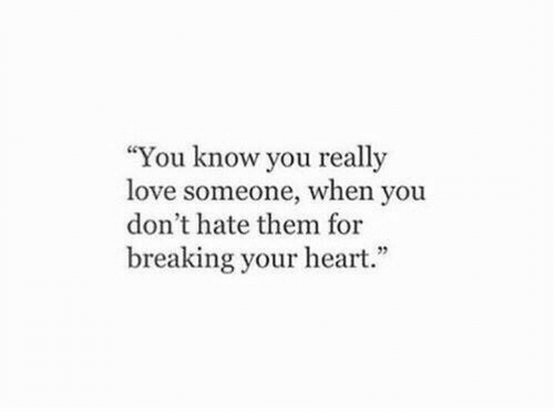 """Love, Heart, and Them: """"You know you really  love someone, when you  don't hate them for  breaking your heart."""""""