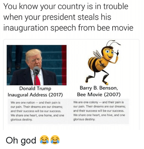Donald Trump Inauguration: You know your country is in trouble  when your president steals his  inauguration speech from bee movie  Barry B. Benson  Donald Trump  Inaugural Address (2017)  Bee Movie (2007)  We are one colony and their pain is  We are one nation and their pain is  our pain. Their dreams are our dreams;  our pain. Their dreams are our dreams;  and their success will be our success.  and their success will be our success.  We share one heart, one home, and one  We share one heart, one hive, and one  glorious destiny.  glorious destiny. Oh god 😂😂