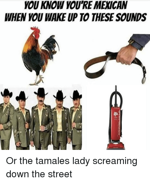 tamales: YOU KNOW YOU'RE MEXICAN  WHEN YOU WAKE UP TO THESE SOUNDS Or the tamales lady screaming down the street