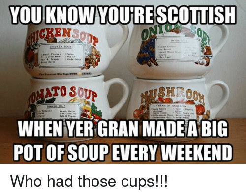 Memes, Scottish, and 🤖: YOU KNOW YOURE SCOTTISH  HIRO  WHEN YERGRAN MADE A BIG  POT OF OUP EVERY WEEKEND Who had those cups!!!