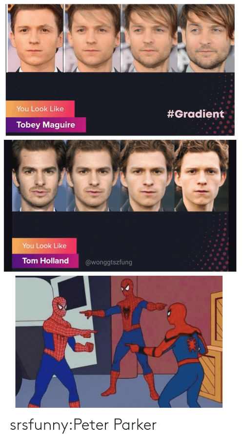 peter: You Look Like  #Gradient  Tobey Maguire  You Look Like  Tom Holland  @wonggtszfung srsfunny:Peter Parker