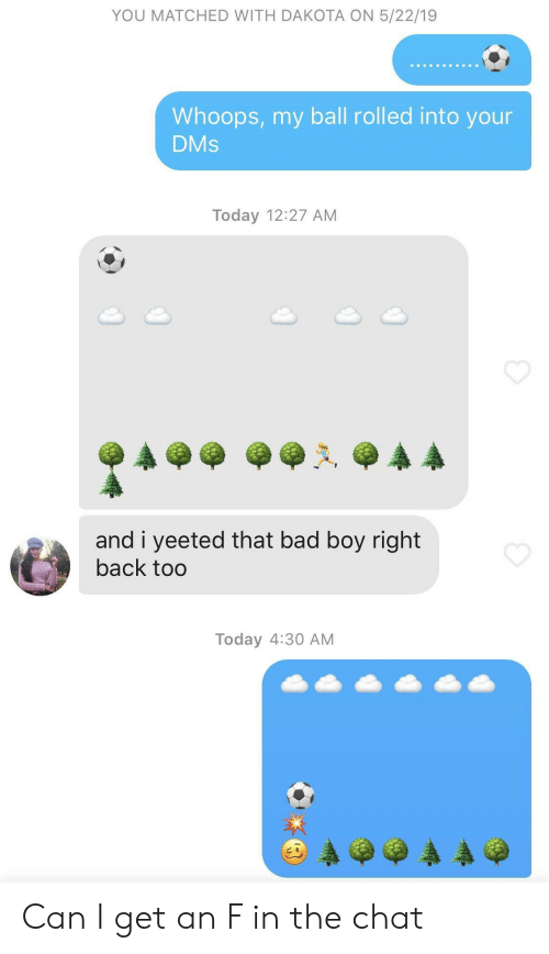 bad boy: YOU MATCHED WITH DAKOTA ON 5/22/19  Whoops, my ball rolled into your  DMs  Today 12:27 AM  and i yeeted that bad boy right  back too  Today 4:30 AM Can I get an F in the chat