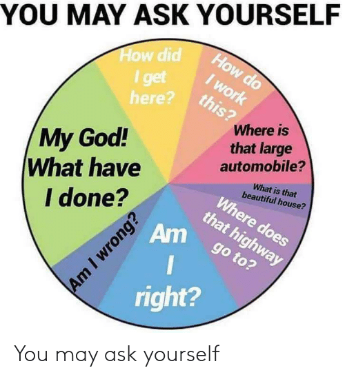 ask: You may ask yourself