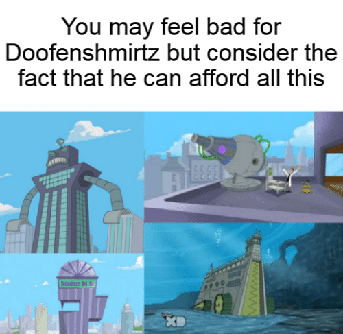 Bad, Can, and May: You may feel bad for  Doofenshmirtz but consider the  fact that he can afford all this  dn d  wwwwB
