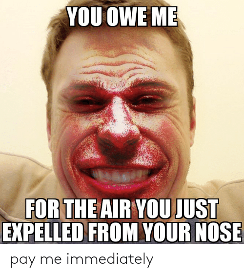 expelled: YOU OWE ME  FOR THE AIR YOU JUST  EXPELLED FROM YOUR NOSE pay me immediately