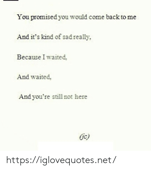 Come Back To Me: You promised you would come back to me  And it's kind of sad really  Because I waited.  And waited,  And you're still not here  Gc) https://iglovequotes.net/