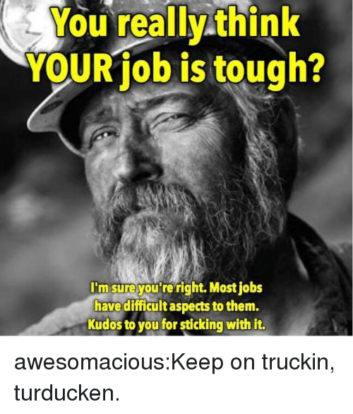 Target, Tumblr, and Blog: You really think  YOUR job is tough?  I'msureyou re right. Most jobs  have difficult aspects to them.  Kudos to you for sticking with it. awesomacious:Keep on truckin, turducken.