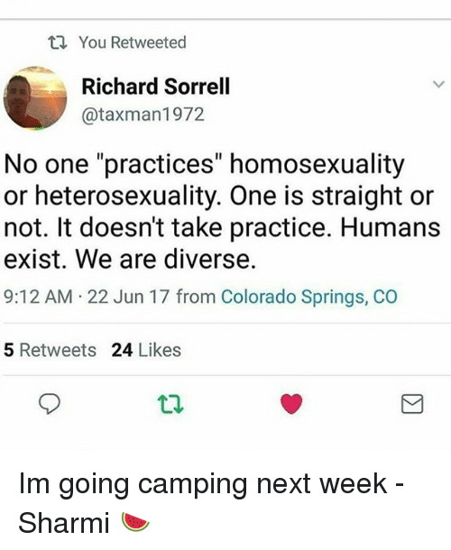 """heterosexuality: You Retweeted  Richard Sorrell  @taxman1972  No one """"practices"""" homosexuality  or heterosexuality. One is straight or  not. It doesn't take practice. Humans  exist. We are diverse.  9:12 AM 22 Jun 17 from Colorado Springs, CO  5 Retweets 24 Likes  t2. Im going camping next week -Sharmi 🍉"""