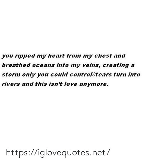 creating: you ripped my heart from my chest and  breathed oceans into my veins, creating a  storm only you could control//tears turn into  rivers and this isn't love anymore. https://iglovequotes.net/