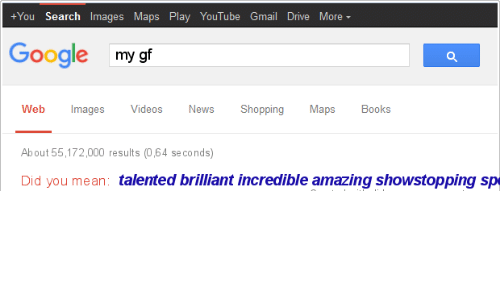 Boos: +You Search Images Maps Play YouTube Gmail Drive More  Google my gf  Web ImagesVideos News Shopping Maps Boos  About 55,172,000 results (0,64 seconds)  Did you mean: talented brilliant incredible amazing showstopping sp