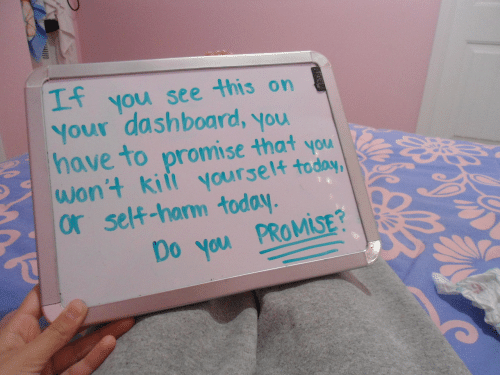self harm: you see this on  Your dashboard, you  have to promise that you  wont kiit yourset4  or self-harm today  Mi  Do you PROMİSE?