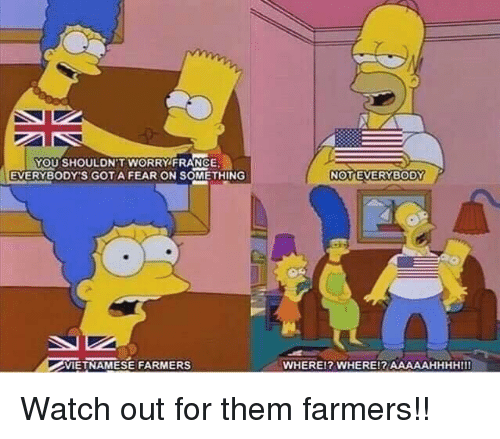 gota: YOU SHOULDN'T WORRY FRANCE  EVERYBODY'S GOTA FEAR ON SOMETHING  VIETNAMESE FARMERS  WHEREl? WHERE!? AAAAAHHHHIII Watch out for them farmers!!