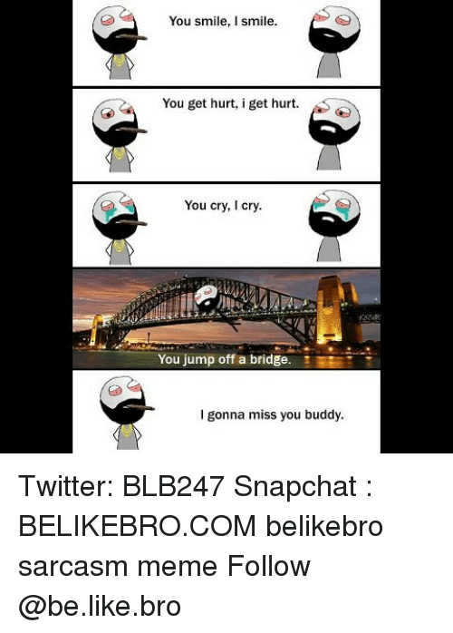 jumps off: You smile, I smile.  You get hurt, i get hurt.  You cry, I cry.  You jump off a bridge.  EE  I gonna miss you buddy Twitter: BLB247 Snapchat : BELIKEBRO.COM belikebro sarcasm meme Follow @be.like.bro