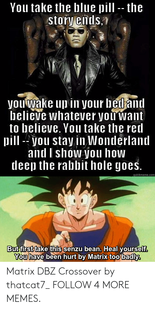 Too Badly: You take the blue pill -- the  story ends.  you wake up in your bed and  believe whatever you want  to believe. You take the red  pill-you stay in Wonderland  and Ishow you how  deep the rabbit hole goes.  quickmeme.com  But first take this senzu bean. Heal yourself.  You have been hurt by Matrix too badly,  T Matrix DBZ Crossover by thatcat7_ FOLLOW 4 MORE MEMES.