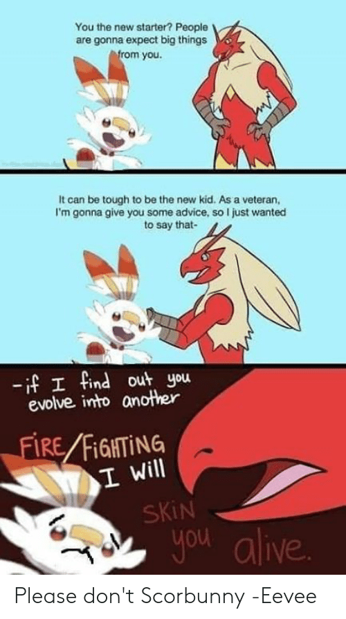 new kid: You the new starter? People  are gonna expect big things  rom you  It can be tough to be the new kid. As a veteran,  I'm gonna give you some advice, so I just wanted  to say that-  -if I find out you  evolve into another  FIRE FİGHTİNG  I Will  SKiN  you alive Please don't Scorbunny  -Eevee