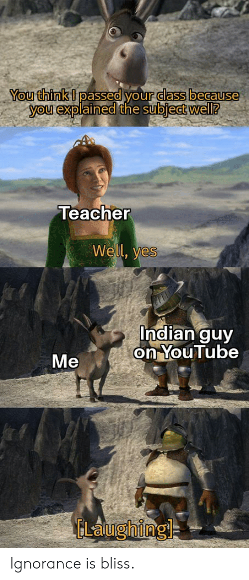 Indian: You think I passed your dass because  you explained the subject well?  Teacher  Well, yes  Indian guy  on YouTube  Me  ELaughing Ignorance is bliss.