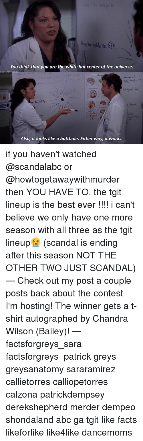 Conteste: You think that you are the white hot center of the universe.  Huma  Also, it looks like a butthole. Either way, it works. if you haven't watched @scandalabc or @howtogetawaywithmurder then YOU HAVE TO. the tgit lineup is the best ever !!!! i can't believe we only have one more season with all three as the tgit lineup😭 (scandal is ending after this season NOT THE OTHER TWO JUST SCANDAL) — Check out my post a couple posts back about the contest I'm hosting! The winner gets a t-shirt autographed by Chandra Wilson (Bailey)! — factsforgreys_sara factsforgreys_patrick greys greysanatomy sararamirez callietorres calliopetorres calzona patrickdempsey derekshepherd merder dempeo shondaland abc ga tgit like facts likeforlike like4like dancemoms
