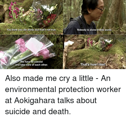 Being Alone, True, and Death: You think you die alone, but that's not true  Nobody is alone in this world.  We have to coexist  and take care of each other.  That's howl feel Also made me cry a little - An environmental protection worker at Aokigahara talks about suicide and death.