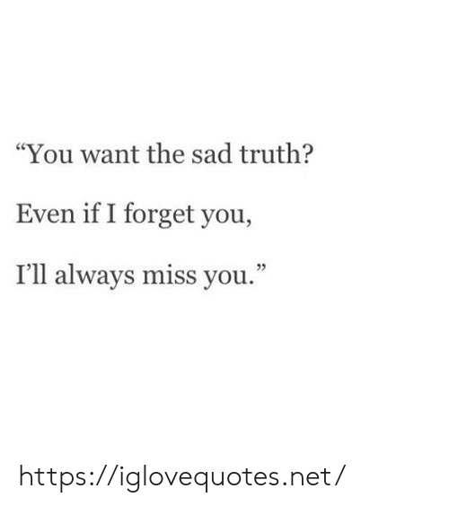"""Sad, Truth, and Net: """"You want the sad truth?  Even if I forget you,  I'll always miss you."""" https://iglovequotes.net/"""