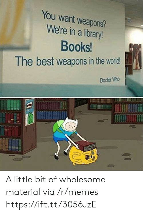 Books, Doctor, and Memes: You want weapons?  We're in a library!  Books!  The best weapons in the world  Doctor Who A little bit of wholesome material via /r/memes https://ift.tt/3056JzE
