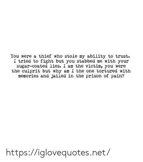thief: You were a thief who stoie my ability to trust  I tried to fight but you stabbed me with your  sugar-coated lies. I am the victim, you were  the culprit but why am I the one tortured with  memories and jailed in the prison of pain? https://iglovequotes.net/