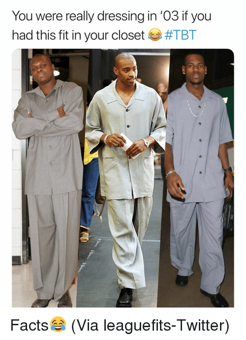 Basketball, Facts, and Nba: You were really dressing in '03 if you  had this fit in your closet Facts😂 (Via leaguefits-Twitter)