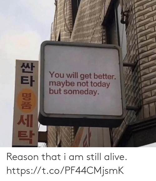 still alive: You will get better.  maybe not today  but someday.  세 Reason that i am still alive. https://t.co/PF44CMjsmK