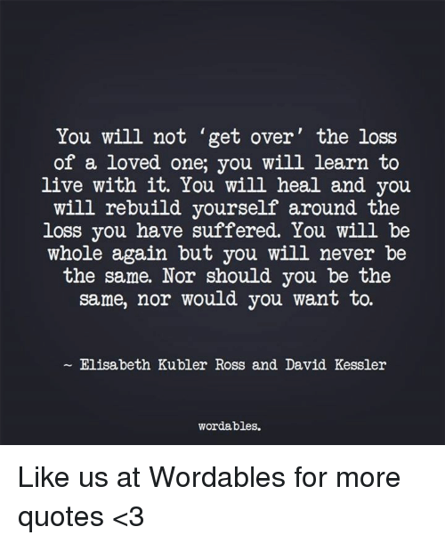 Elisabeth: You will not get over the loss  of a loved one, you will learn to  live with it. You will heal and you  will rebuild yourself around the  loss you have suffered. You will be  whole again but you will never be  the same. Nor should you be the  same, nor would you want to.  Elisabeth Kubler Ross and David Kessler  wordables. Like us at Wordables for more quotes <3
