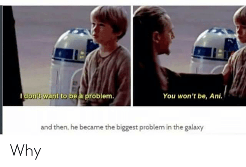 Galaxy, Why, and You: You won't be, Ani.  I don't want to be a problem.  and then, he became the biggest problem in the galaxy Why