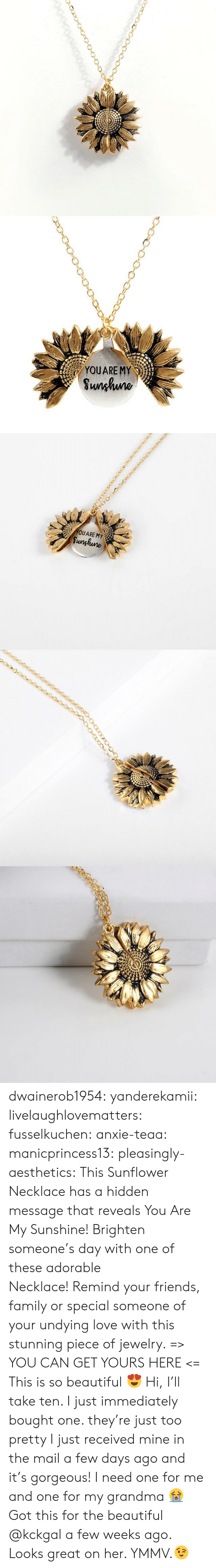 a-few-weeks: YOUARE MY  Sunhuno   YOUARE MY  Sunghune dwainerob1954:  yanderekamii:  livelaughlovematters:  fusselkuchen: anxie-teaa:   manicprincess13:   pleasingly-aesthetics:  This Sunflower Necklace has a hidden message that reveals You Are My Sunshine! Brighten someone's day with one of these adorable Necklace! Remind your friends, family or special someone of your undying love with this stunning piece of jewelry. => YOU CAN GET YOURS HERE <=   This is so beautiful 😍    Hi, I'll take ten.    I just immediately bought one. they're just too pretty   I just received mine in the mail a few days ago and it's gorgeous!  I need one for me and one for my grandma 😭  Got this for the beautiful @kckgal a few weeks ago.  Looks great on her. YMMV.😉