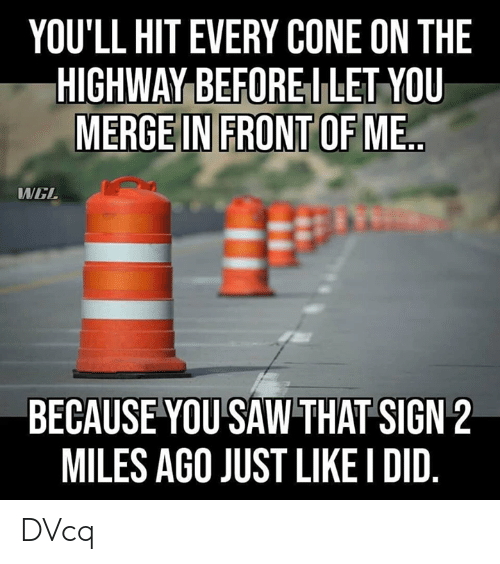 wel: YOU'LL HIT EVERY CONE ON THE  HIGHWAY BEFOREI LET YOU  MERGE IN FRONT OF ME  WEL  BECAUSE YOU SAW THAT SIGN 2  MILES AGO JUST LIKE I DID DVcq
