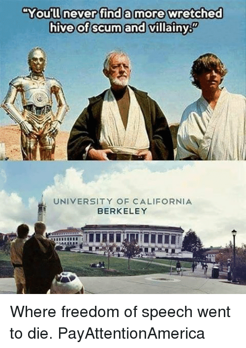 """hives: """"You'll never find a more wretched  hive of scum and villainy  UNIVERSITY OF CALIFORNIA  BERKELEY Where freedom of speech went to die. PayAttentionAmerica"""