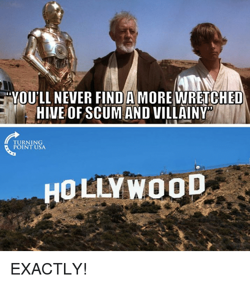 Memes, Never, and 🤖: YOU'LL NEVER FIND A MORE WRETCHED  HIVE OFSCUM AND VILLAINY  TURNING  POINT USA  HOLLYWOoD EXACTLY!