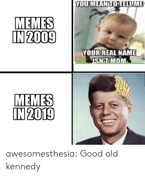 Memes, Shit, and Tumblr: YOUMEANTOTELL ME  MEMES  IN 2009  YOUR REAL NAME  SHIT MOM  MEMES  IN 2019 awesomesthesia:  Good old kennedy