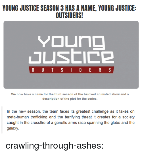 outsiders: YOUNG JUSTICE SEASON 3 HAS A NAME, YOUNG JUSTICE:  OUTSIDERS!  We now have a name for the third season of the beloved animated show and a  description of the plot for the series   In the new season, the team faces its greatest challenge as it takes on  meta-human trafficking and the terrifying threat it creates for a societ)y  caught in the crossfire of a genetic arms race spanning the globe and the  galaxy. crawling-through-ashes: