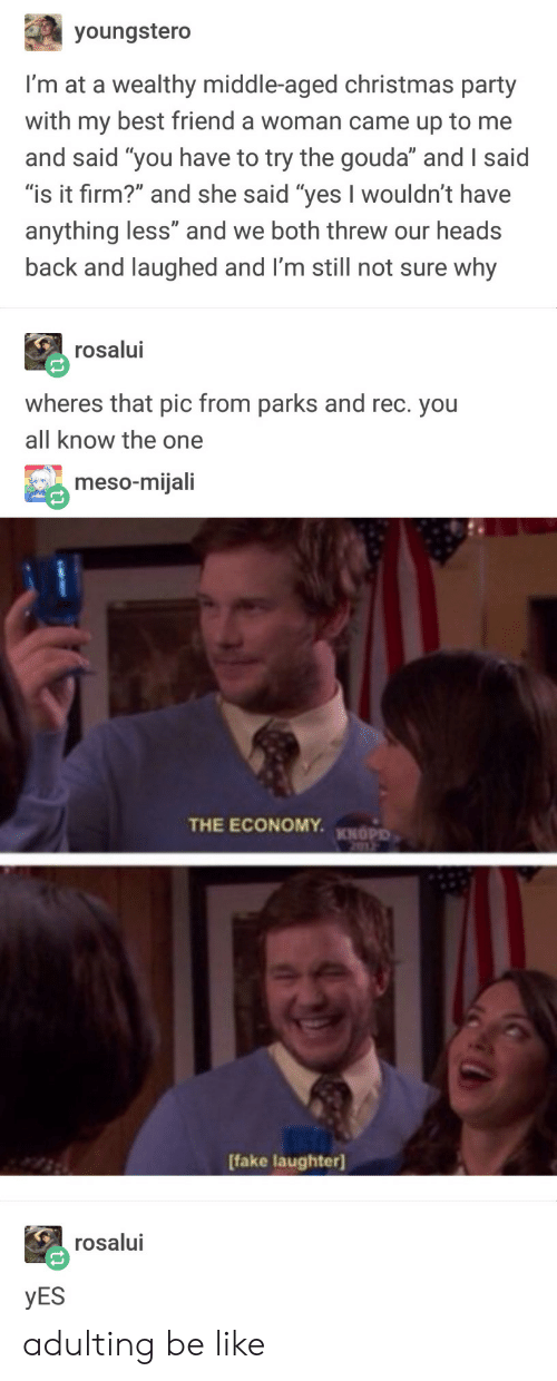 """parks and rec: youngstero  I'm at a wealthy middle-aged christmas party  with my best friend a woman came up to me  and said """"you have to try the gouda"""" and I said  """"is it firm?"""" and she said """"yes I wouldn't have  anything less"""" and we both threw our heads  back and laughed and I'm still not sure why  rosalui  wheres that pic from parks and rec. you  all know the one  meso-mijali  THE ECONOMY.  KNOPD  Ifake laughter)  rosalui  YES adulting be like"""