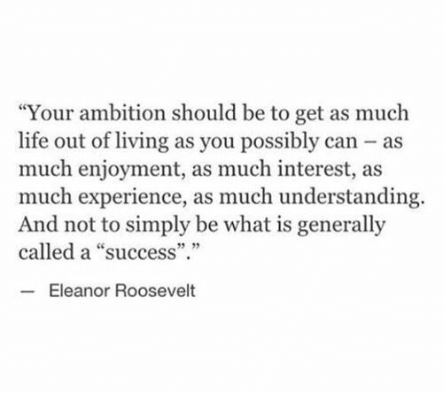 """Life, What Is, and Eleanor Roosevelt: """"Your ambition should be to get as much  life out of living as you possibly can as  much enjoyment, as much interest, as  much experience, as much understanding.  And not to simply be what is generally  called a """"success""""  5 35  Eleanor Roosevelt"""