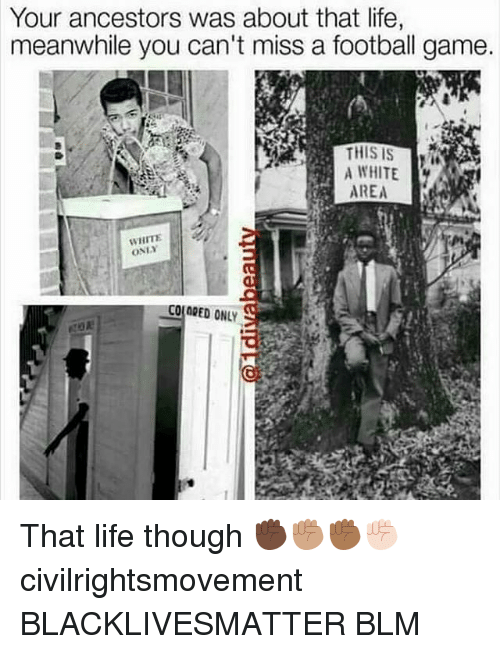 About That Life: Your ancestors was about that life,  meanwhile you can't miss a football game.  A WHITE  AREA  WHITE  ONLY  COLORED ONLY That life though ✊🏿✊🏽✊🏾✊🏻 civilrightsmovement BLACKLIVESMATTER BLM