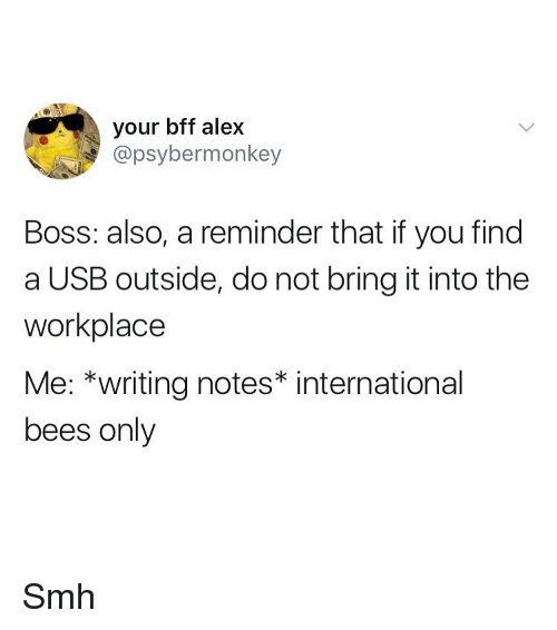 Smh, Girl Memes, and International: your bff alex  @psybermonkey  Boss: also, a reminder that if you find  a USB outside, do not bring it into the  workplace  Me: *writing notes* international  bees only Smh