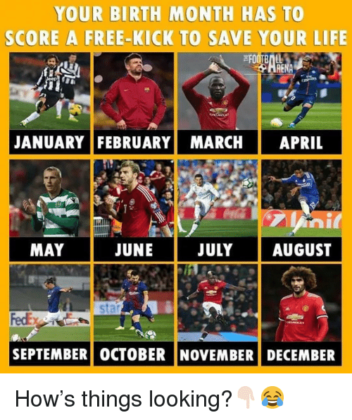 Life, Memes, and Free: YOUR BIRTH MONTH HAS TO  SCORE A FREE-KICK TO SAVE YOUR LIFE  본FOOTBALL  RENA  JANUARY FEBRUARY MARCH APRIL  MAY  JUNE  JULYAUGUST  SEPTEMBER) OCTOBER INOVEMBERİ DECEMBER How's things looking?👇🏻😂